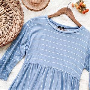 Roolee | Blue Striped 3/4 Sleeve Dress XL
